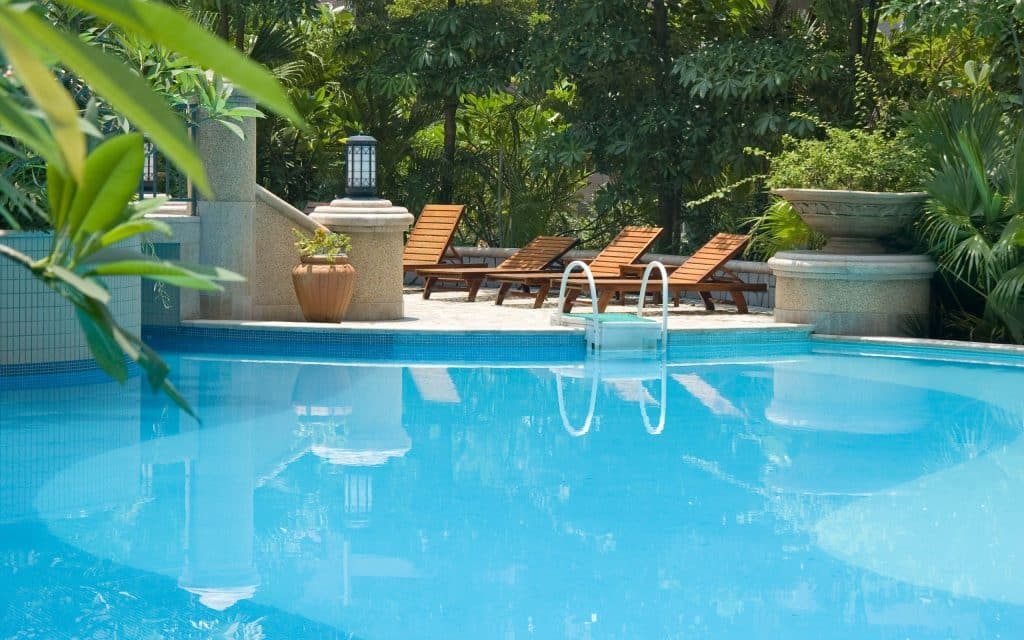 Summer Pool with Lazy Loungers